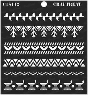 "Craftreat Stencil - Warli Borders 6"" X 6"""