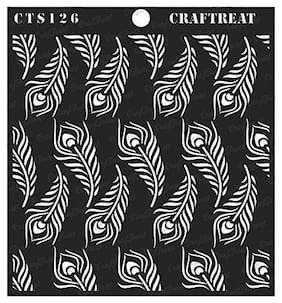 CrafTreat Stencil - Peacock Feather Background 6X6