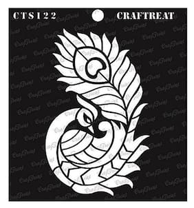 CrafTreat Stencil - Side Feathered Peacock 6X6