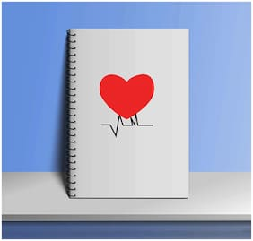 Crazy Sutra Premium Single Ruled Paper Cover Notebook (100pages) Spiral Bound for Personal Diary;Doodle;Notes;Planner - A5 Size (Note-Heart)