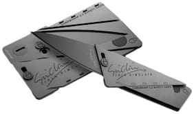 Credit Card Knife, Cover Folding Safety Knife Silver, Outdoor Pocket Wallet Foldable/portable Swisscard Lite Pocket Tool-(Pack of 1)
