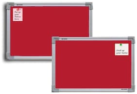 Crete Red 1.5 x 1 Feet ,Bulletin Board,Notice Board,Pin Board,Set of 2