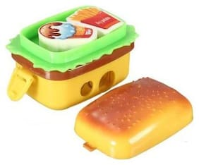 Cute Kids Two Kid Eraser 2 Hole Nice Hamburger 2 Rubbers Stationery Sharpener (Multi Color) Pack of 1