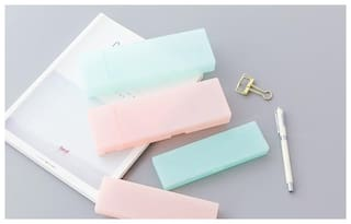 Cute Simple Candy Color Matte Hard Shell School Pencil Pen Case Box Stationary