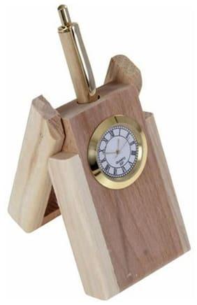 Daimo Wooden Pen Stand Cum Clock