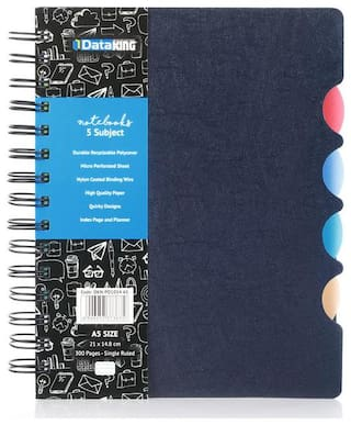 Dataking 5 Subject Single Ruled Side Circle Design PP Cover Notebook - A5 Size;Blue Color;300 Pages