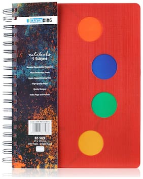 Dataking 5 Subject Single Ruled Circle Design PP Cover Notebook - B5 Size, Red Color, 300 Pages