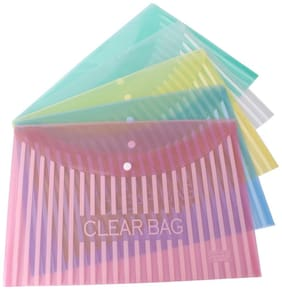 DataKing My Clear Bag With Linear Printing, Set Of 12, Color: Multi, Size: FC.