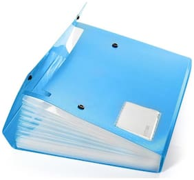 DataKing Polypropylene Expanding File With 13 Pockets With Name Card, Size A4, Color: Blue, Free Delivery. (Set Of 1 Blue)