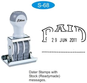 Dater Rubber Stamp with PAID message and Signature place by Shiny S-68