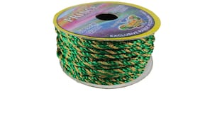 De-Ultimate (Green;Gold) Color 18 Mtr. Resham Zari Twisted Thread/Dori Lace For Booking/Handicrafts & Craft Diy Project