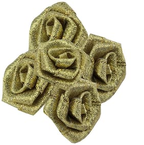 De-Ultimate 50 g (Golden Color) Artificial Handmade Nylon Rose Flowers For Diy Craft Making/Material/Bouquet Making/Wedding/Party Hall/Card Decorations And Gift Packing/Wrappings (Approxly 90 pcs)