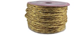 De-Ultimate Sparkling (Golden) Color 18 Mtr. Resham Zari Twisted Thread/Dori Lace For;Handicrafts & Craft Diy Projects