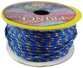 De-Ultimate (Blue;Gold) Color 18 Mtr. Resham Zari Twisted Thread/Dori Lace For Handicrafts & Craft Diy Projects
