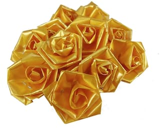 De-Ultimate 50 g (Yellow Color) Artificial Handmade Plastic Paper Rose Flowers For Diy Craft/Bouquet Making/Material/Wedding/Party Hall/Card Decorations & Gift Packing/Wrappings (Approxly 90 pcs)