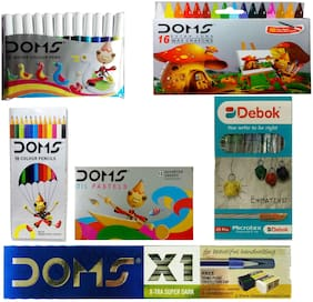 DEBOK MICROTEX BALL PEN+12 SHADE OIL PASTEL+12 COLOUR PENCIL +12 SKETCH PEN(MINI)+X1 PENCIL+16 WAX  CRAYONS