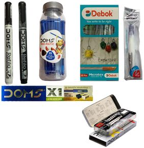 DEBOK PEN+GEOMETRY BOX+X1 EXTRA SUPER DARK PENCIL WITH PROTECTION CAP+WHITENER CORRECTION PEN+REFILO PERMANENT MARKER+REFILO WHITEBOARD MARKER+TRIOMATIC BALL PEN JAR