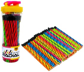 Dezha Radial ecoFriendly HB Pencil Jar (Pack of 50 Pencils+ 1 Sharpner+ 1Tri-Color Eraser)