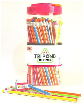 Dezha Tripond Triangular ecofriendly Rubber Tipped HB Pencil Jar (100 Pencils + 5 Sharpeners)