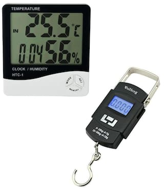 Digital Hygrometer Thermometer Humidity Meter With Clock Large LCD Display  With Multi Purpose Pocket Weighing Scale 1826c2e19bd03