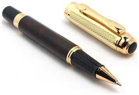Dikawen 821 Gold Mesh Cap Dark Wine Marble Designer Rollerball Pen