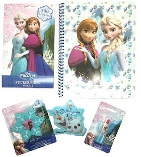 Disney Frozen Elsa Anna Olaf 5 Piece Stationery Set Notebook Sticker Book Eraser