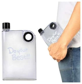 Do Your Best Notebook Water Bottle, 380 ml, Clear Style Microwave Safe, Freezer Safe Dishwasher Safe, BPA Free Non Toxic Plastic (Assorted Colours)