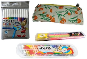 DOMS 12 AQUA WATER  COLOUR PENCIL + 1 SET DOMS 25 SHADE OIL PASTEL + 1 SET DOMS GROOVE SLIM TRIANGLE PENCIL + 1 POUCH