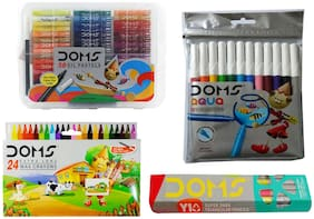 DOMS 12 WATER  COLOUR PENCILS+ 1 SET DOMS OIL PASTEL (50 SHADES) +1 SET DOMS 24 WAX CRAYONS +DOMS Y1 PLUS (10 PENCILS)