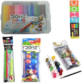 DOMS AQUA 24 SKETCH PEN (FULL SIZE)+12 WATER COLOUR CAKES+TEMPERA COLOUR (12 SHADES)+NEON PRIME KIT+10 DOMS NEON RUBBER TIPPED PENCIL