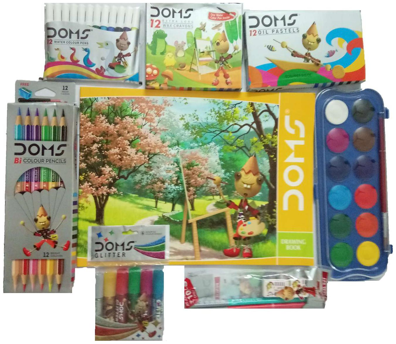DOMS DRAWING BOOK+DOMS 12 SHADE BI COLOUR PENCILS+DOMS 12 SHADES COLOUR WATER CAKES+DOMS 12 OIL PASTELS+DOMS 12 EXTRALONG WAX CRAYONS+DOMS 6 GLITTERS+