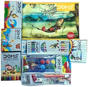 DOMS DRAWING BOOK+12 SHADE COLOUR BOOK WATER CAKES +12 BI COLOUR PENCILS+12 OIL PASTELS+12 EXTRALONG WAX CRAYONS +12 PLASTIC CRAYONS+PENCIL KIT +12 WATER COLOUR PENS (SMALL)