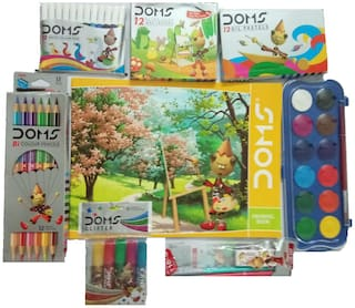 DOMS DRAWING BOOK +12 SHADE COLOUR BOOK WATER CAKES +12 BI COLOUR PENCILS+12 OIL PASTELS +12 EXTRALONG WAX CRAYONS +GLITTERS (6 SHADES)+PENCIL KIT +12 WATER COLOUR PENS (SMALL)