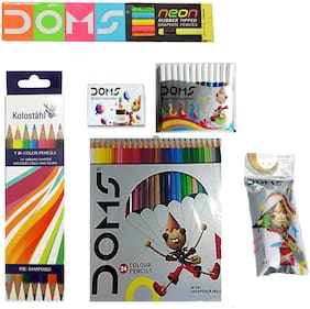 DOMS NEON GRAPHITE PENCIL +DOMS 24 FULL SIZE COLOUR PENCIL + DOMS 12 SKETCH PEN + DOMS 12 WAX CRAYONS + DOMS TEMPERA COLOURS ( 12 SHADES ) +  KOLOSTAHL 12 ERASABLE PLASTIC CRAYONS