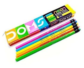 DOMS NEON RUBBER TIPPED GRAPHITE PENCILS (PACK OF 50 PENCILS)