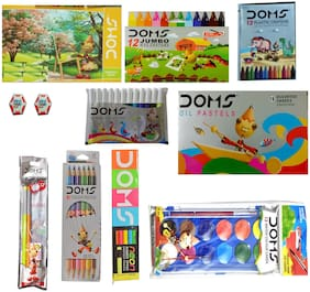 DOMS NEON RUBBER TIPPED PENCIL+NEON ERASER+DRAWING BOOK+12 SHADE  WATER COLORCAKES+12 BICOLOUR PENCIL+12 OIL PASTELS+12 EXTRA LONG WAX CRAYONS+12 PLASTIC CRAYONS+PENCIL KIT+12 WATER COLOUR PENS