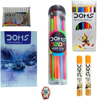 DOMS NOTE BOOK + 30 DOMS NEON JAR GRAPHITE PENCIL ( +1 SHARPENER + 1 ERASER ) + 2 DOMS GUM TUBES + 1 SET DOMS 12  COLOR PENCIL + 10 DOMS NEON ERASERS + 1 SET DOMS 12 WATER COLOUR PENS