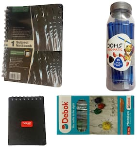 DOMS SUBJECT NOTE BOOK+POCKET DIARY+DEBOK MICROTEX BALL PEN+TRIO-MATIC BALL PEN