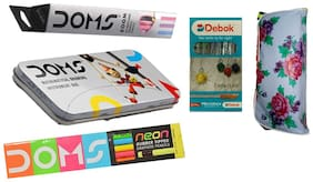 DOMS ZOOM PENCIL+NEON RUBBER TIPPED PENCIL+GEOMETRY BOX+DEEBOK PEN+POUCH