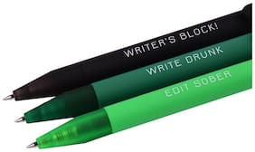 Doodle Grass Green German Ink Gel Pens Set - Pack Of 3 (1 Black + 1 Green + 1 Grass Green)