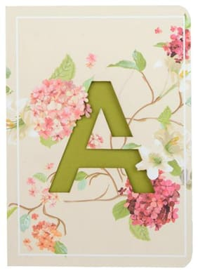 Initial A lasercut Notebook, B6 (6.69 X 4.72 X 0.5 inch), 200 Pages, 80 GSM, Diary for Girls