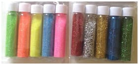 DWeS Fine Glitter Powder Craft DIY - 10 Bottles