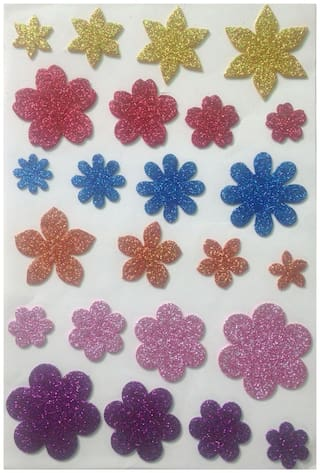 DWeS Multicolor Flower Shaped Glitter Foam Self Adhesive Sticker for Craft