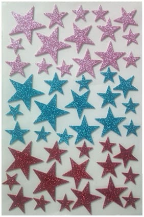 DWeS Multicolor Star Shaped Glitter Foam Self Adhesive Sticker for Craft