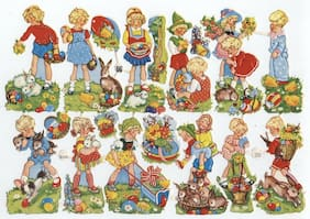 Easter Children EAS Germany Die Cut Paper Scrap Sheet Unused Embossed Scenes