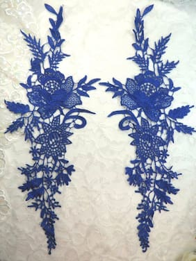 "Embroidered Applique Blue Romantic Rose Floral Venice Lace MirrorPair 16""(DH83)"