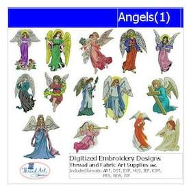 Embroidery Design Set - Angels(1) - 14 Designs - 9 Formats - USB Stick
