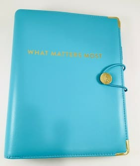 "EMILY LEY At-A-Glance Get Organized Planner Binder Aqua Blue ""What Matters Most"""