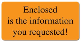 Enclosed, 2 x 1 Orange Fluorescent, Roll of 500 Stickers