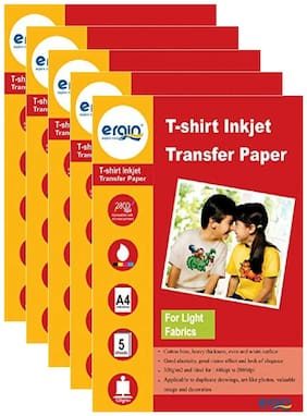 ERGIN 120GSM T-Shirt Inkjet Transfer A4 Size Paper For Light Fabric (05 Sheets X 05 Pack)